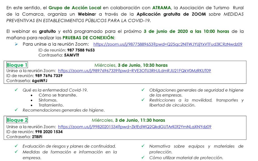 Webinar ZOOM Medidas Preventivas ESTABLECIMIENTOS PÚBLICOS COVID-19